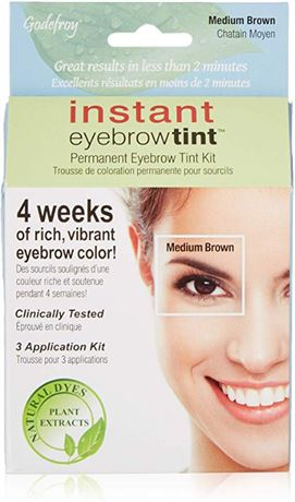 Godefroy Instant Brow Tint, Medium Brown, 1 Count