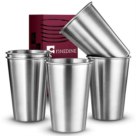 FineDine Premium Grade Stainless Steel Pint Cups Water Tumblers (5 Piece), 17 oz