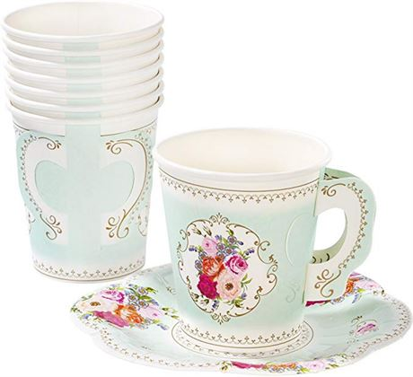 Talking Tables Tea Party|Vintage Floral Tea Cups & Saucer|Truly Scrumptious