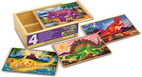 Melissa & Doug Dinosaur Jigsaw Puzzles in a Box, Four Wooden Puzzles