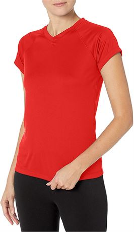 XL-Champion Womens Short Sleeve Double Dry Performance T-Shirt, Scarlet