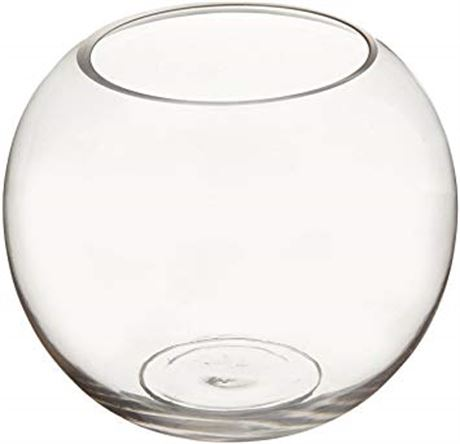 WGV Clear Bubble Bowl Glass Vase, 8-Inch with cleaning cloth